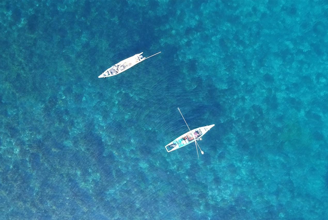 北海道利尻島利尻昆布漁漁船ドローン空撮画像